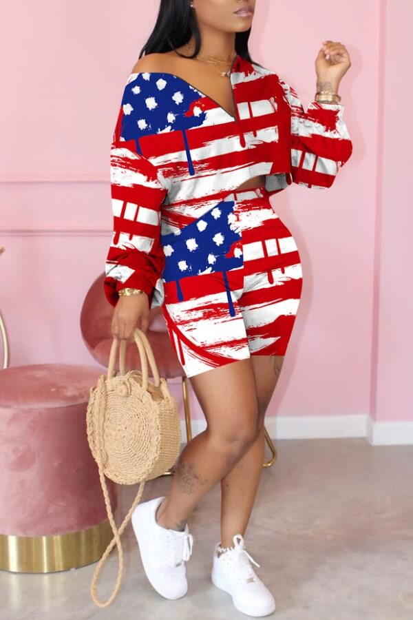 Lovely Casual V Neck Print Red Two-piece Shorts Set