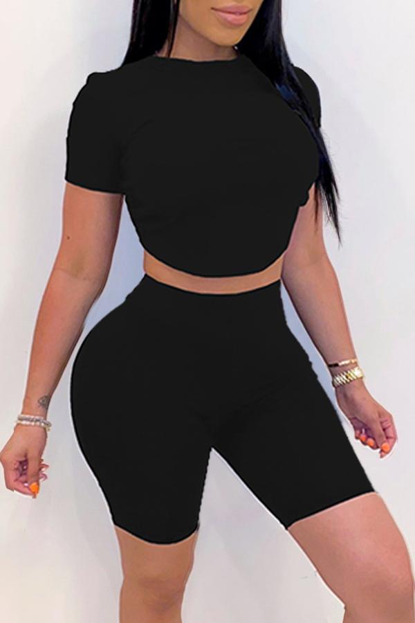 lovely Leisure O Neck Black Two-piece Shorts Set