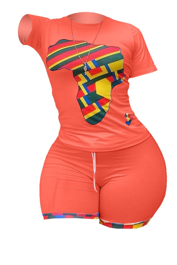 Lovely Casual O Neck Print JacinthPlus Size Two-piece Shorts Set
