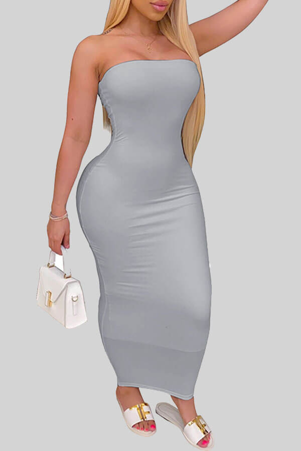 lovely Trendy Dew Shoulder Grey Ankle Length Dress