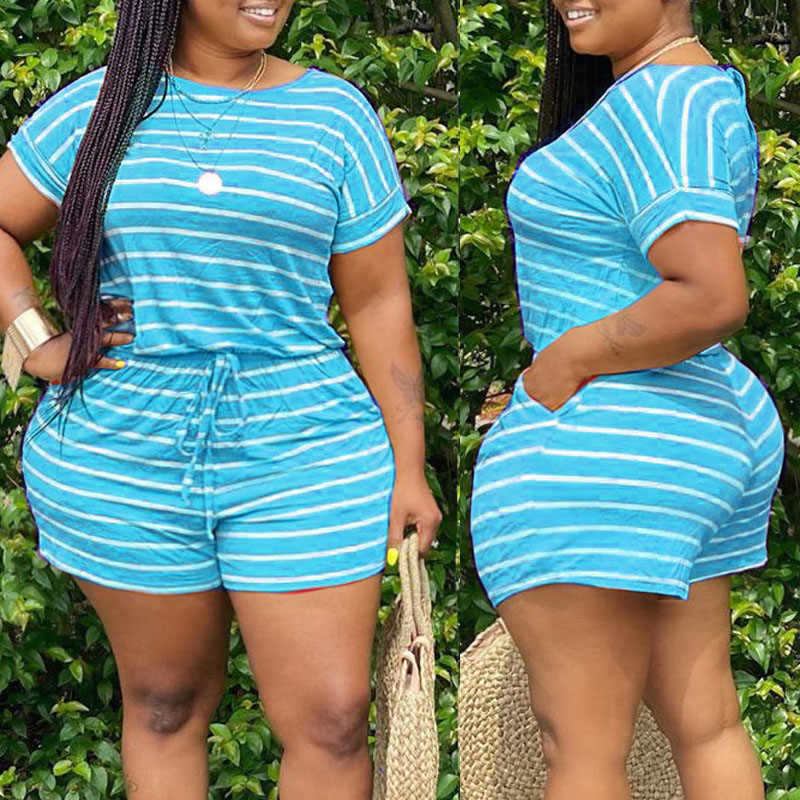 Lovely Casual Striped Blue Plus Size Two-piece Shorts Set(Batch Print) фото
