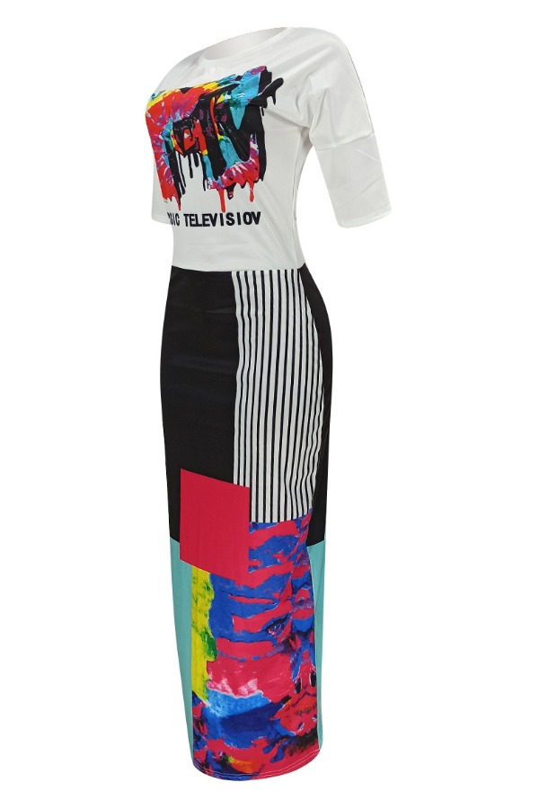 Lovely Leisure Print Patchwork White Ankle Length Dress