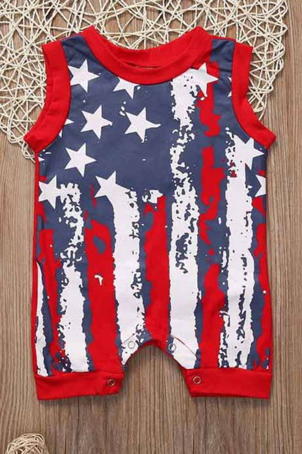 Boys Jumpsuit lovely Independence Day Casual Print Red Boy One-piece jumpsuit фото