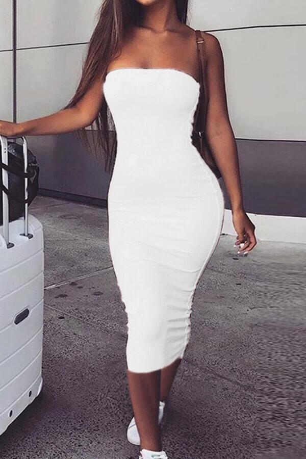 Lovely Trendy Dew Shoulder White Ankle Length Dress фото