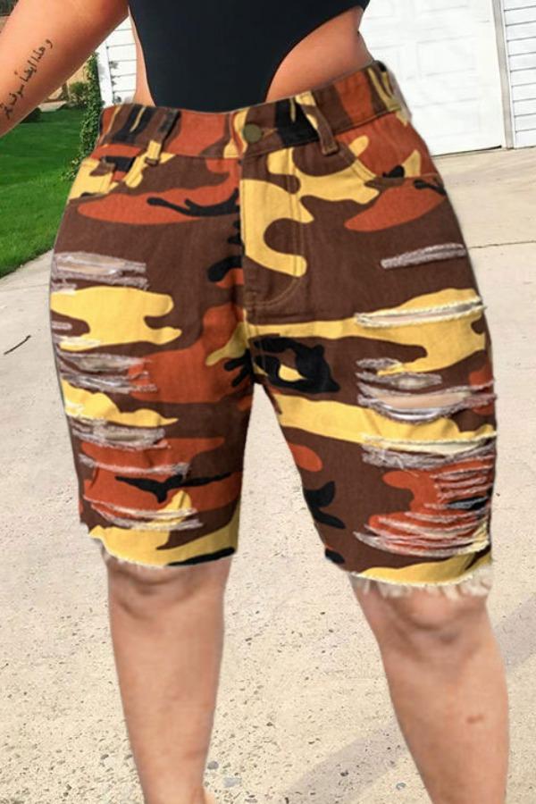 Plus Size Shorts lovely Stylish Broken Holes Camo Print CrociPlus Size Denim Shorts фото