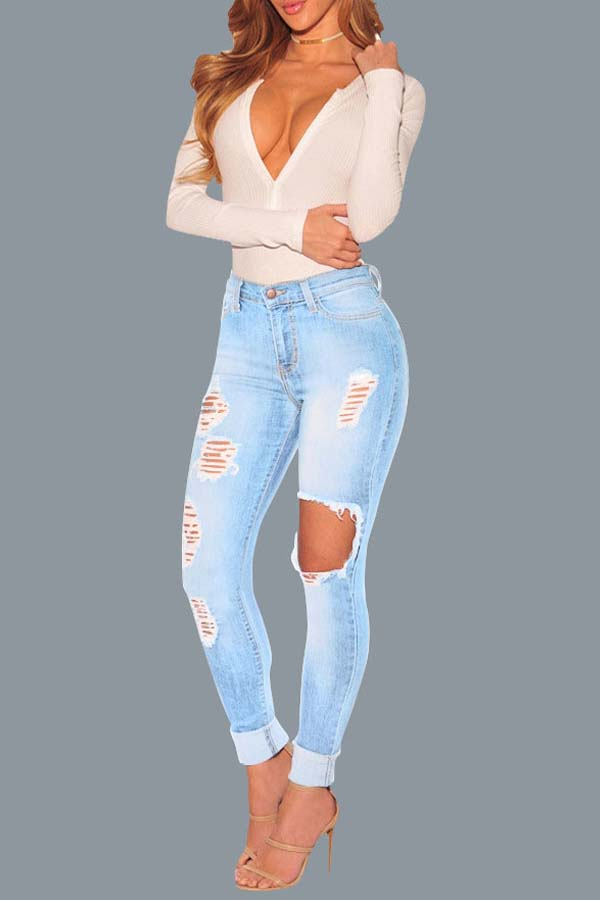 Lovely Trendy Broken Holes Baby Blue Jeans