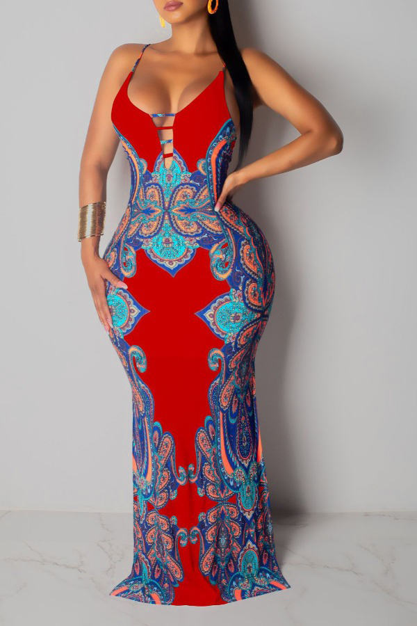 Lovely Sexy Spaghetti Strap Print Backless Red Plus Size Maxi Dress