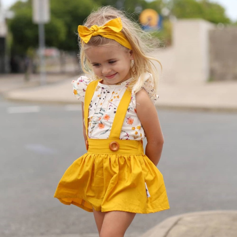 Girls Two-piece Skirt Set lovely Casual Print Yellow Girl Two-piece Skirt Set фото