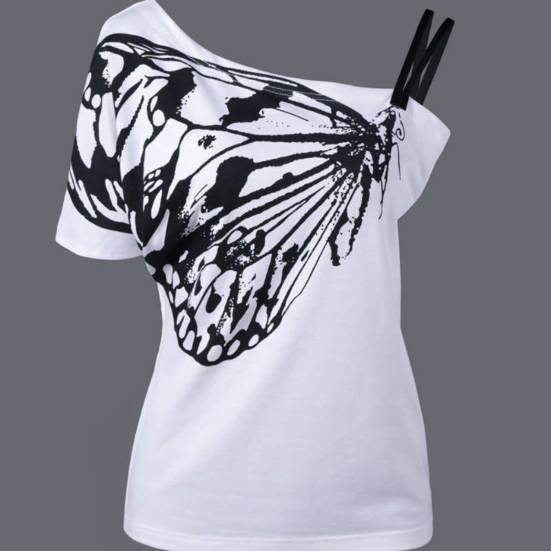 Lovely Casual One Shoulder Print Whitet T-shirt фото