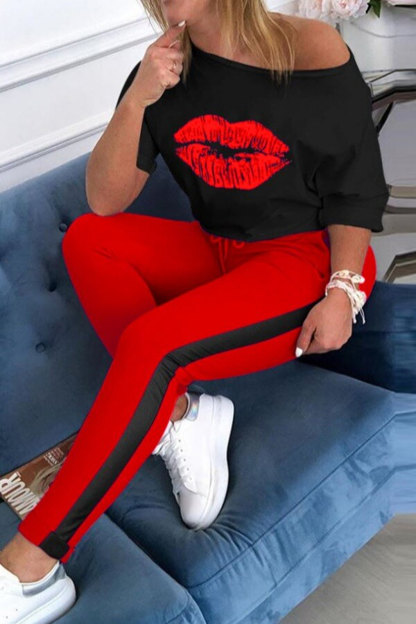Two-piece Pants Set Lovely Casual Lip Print Red Two Piece Pants Set фото