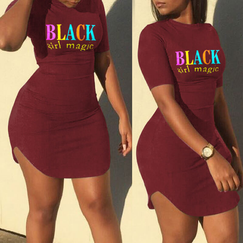 Daily Dress lovely Leisure O Neck Letter Print Wine Red Mini Dress фото