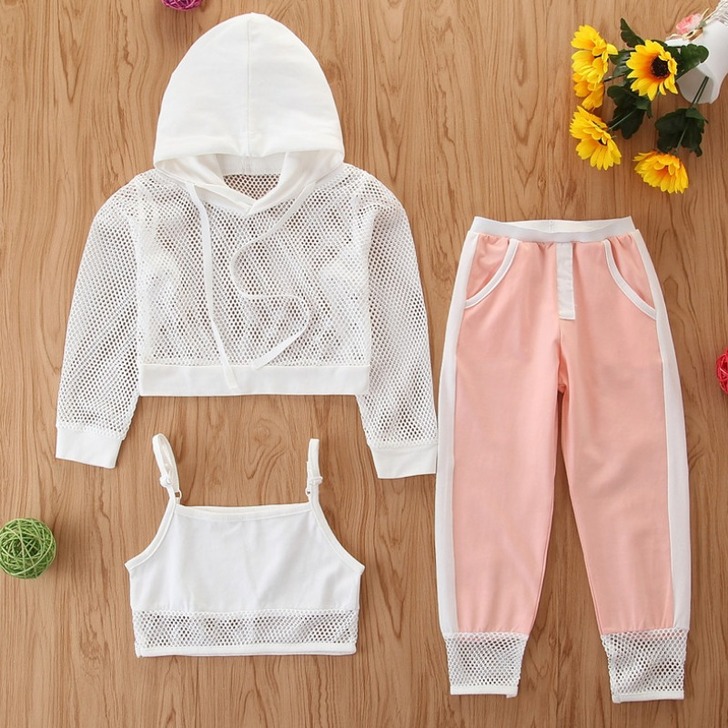 Girls Two-piece Pants Set lovely Casual Hooded Collar Patchwork Pink Girl Two-piece Pants Set фото