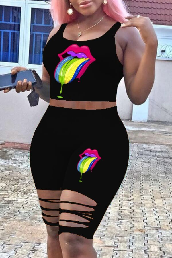Lovely Casual Lip Print Black Two-piece Shorts Set фото