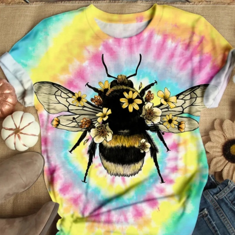 Lovely Casual O Neck Tie-dye Yellow Plus Size T-shirt фото