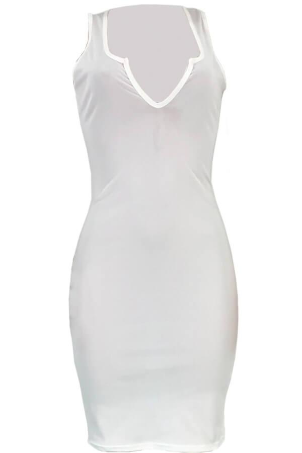 Lovely Casual V Neck White Ankle Length Dress