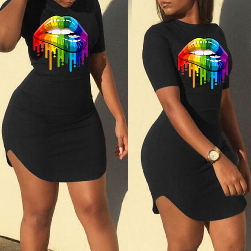 Lovely Leisure O Neck Lip Print Black Mini Dress