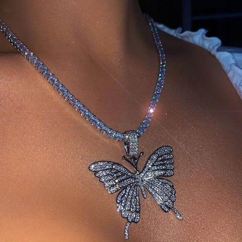 Lovely Sweet Butterfly Silver Necklace