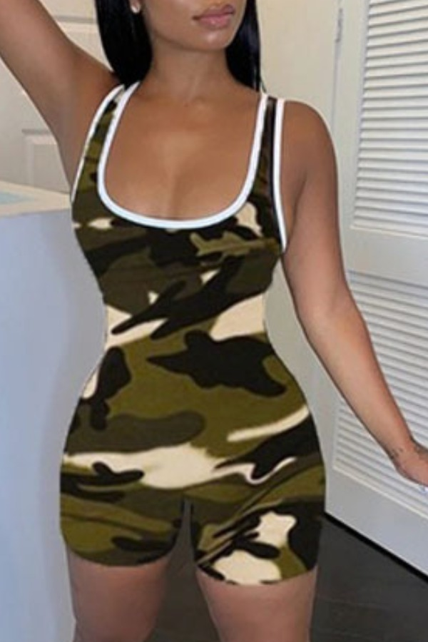 Rompers lovely Sportswear Camo Print Army Green One-piece Romper фото