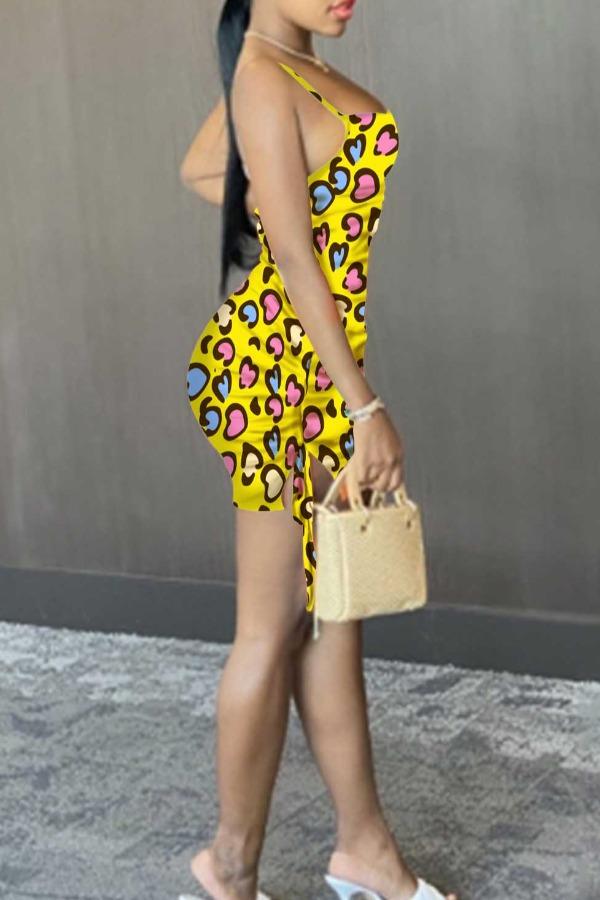 lovely Sexy Print Yellow Mini Dress