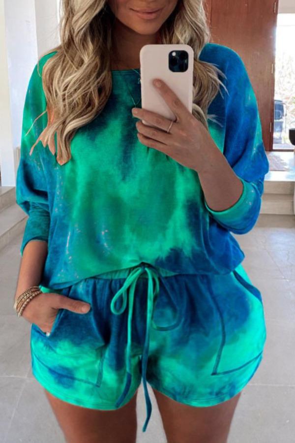 lovely Stylish Tie-dye Dark Green Plus Size Two-piece Shorts Set