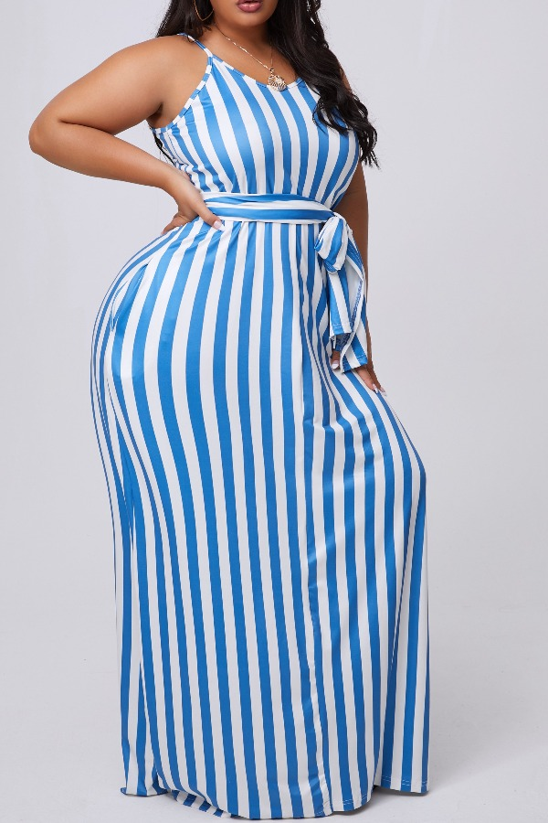 lovely Casual Striped Blue Maxi Plus Size Dress