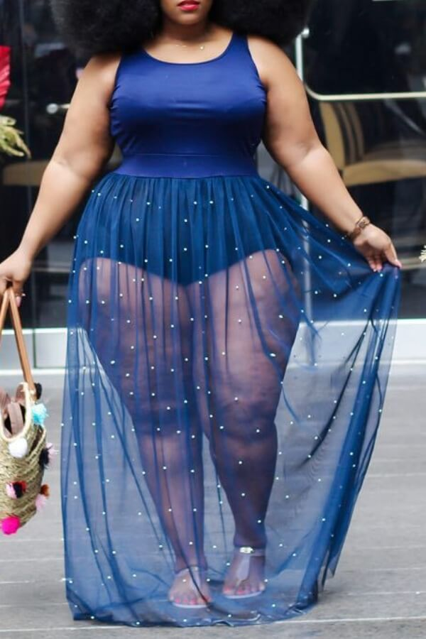 lovely Trendy See-through Blue Maxi Plus Size Dress