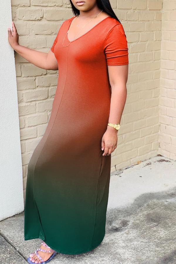 Lovely Casual V Neck Gradual change Orange Maxi Dress