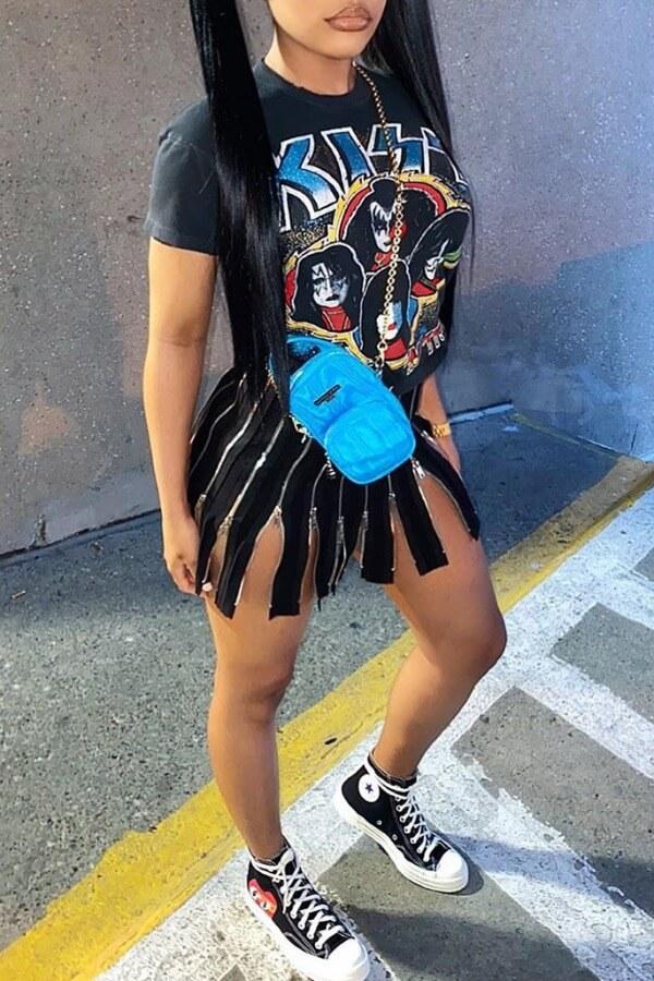 LW Casual O Neck Print Black Mini Dress