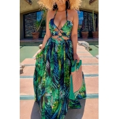 lovely Sexy Halter Neck Hollow-out Green Maxi Dres