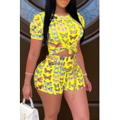 lovely Stylish O Neck Butterfly Print Yellow Two-p
