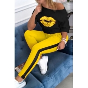 lovely Casual Lip Print Yellow Two-piece Pants Set