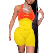 lovely Sexy Patchwork Backless Yellow One-piece Romper