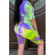 lovely Casual O Neck Tie-dye Green Plus Size Two-p
