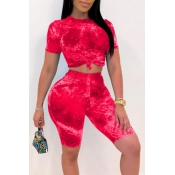 lovely Stylish Tie-dye Red Plus Size Two-piece Sho