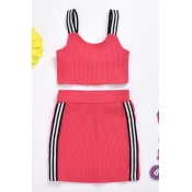 lovely Trendy Patchwork Rose Red Girl Two-piece Sk