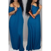 lovely Casual V Neck Loose Blue Maxi Plus Size Dre