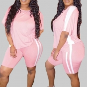 lovely Sportswear Patchwork Pink Plus Size Two-pie