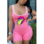 lovely Casual U Neck Lip Print Pink One-piece Romp