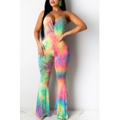 lovely Bohemian Tie-dye Pink One-piece Jumpsuit