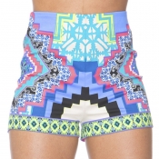 lovely Casual Print Patchwork Blue Shorts