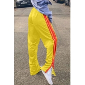 lovely Casual Elastic Waist Patchwork Yellow Pants