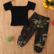 lovely Casual Camo Print Black Girl Two-piece Pants Set