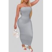 lovely Trendy Dew Shoulder Grey Ankle Length Dress