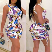 Lovely Sexy Backless Butterfly Print White Mini Dress