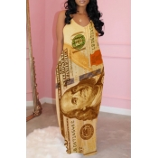lovely Casual Spaghetti Strap Print Yellow Maxi Dr