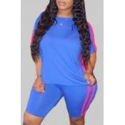 lovely Sportswear Patchwork Blue Plus Size Two-pie