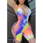 Lovely Sexy Tie-dye Orange One-piece Romper
