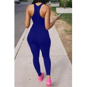 lovely Casual Basic Skinny Blue One-piece Jumpsuit