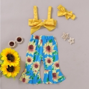 lovely Casual Sunflower Print Yellow Girl Two-piec