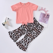 lovely Casual Print Pink Girl Two-piece Pants Set